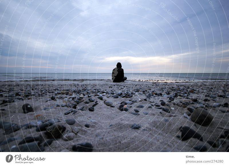Human being Sky Beach Clouds Calm Environment Far-off places Coast Happy Sand Stone Horizon Time Moody Contentment Back