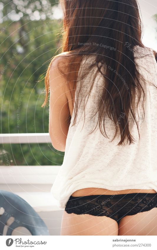 bottom Human being Feminine Young woman Youth (Young adults) 1 T-shirt Underwear Brunette Long-haired Contentment Colour photo Exterior shot Morning Day