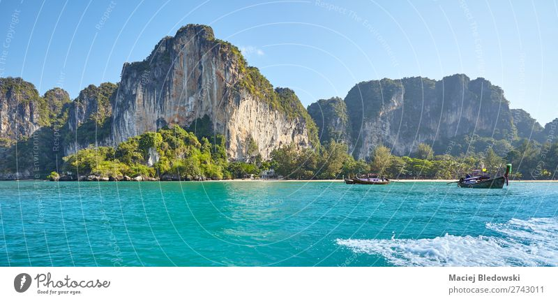 Krabi Province coast on a sunny morning, Thailand Vacation & Travel Tourism Trip Adventure Far-off places Cruise Summer Beach Ocean Island Waves Mountain Nature