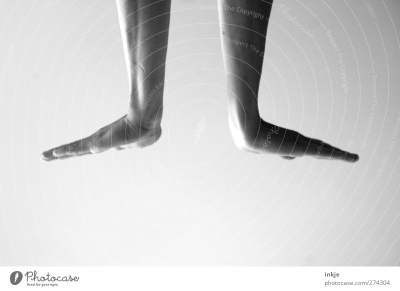 Sign language [ today: Seal ] Life Hand 1 Human being Make Movement Articulated Gesture Bright background Stretching Symmetry Flat Black & white photo