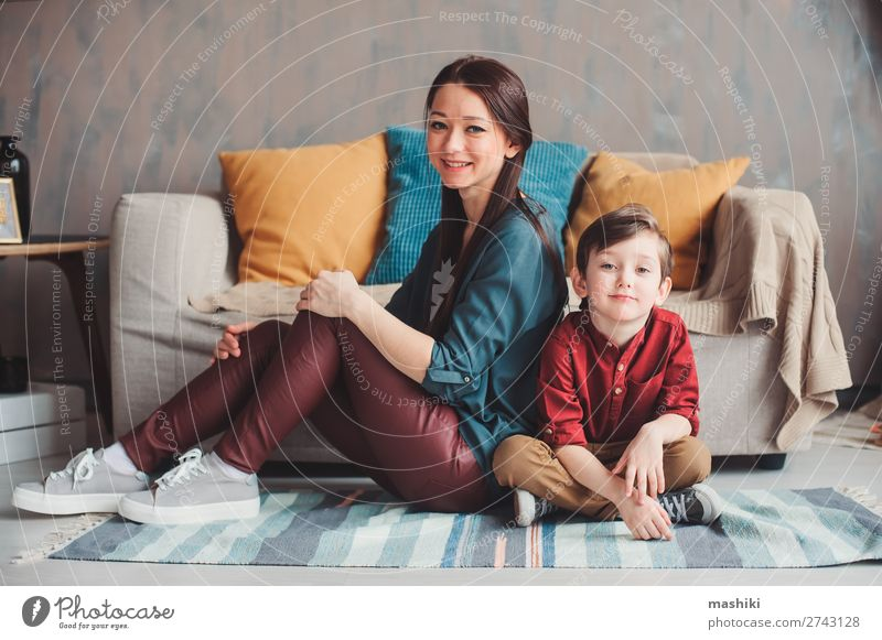 mother and son happy together at home Lifestyle Joy Beautiful Parenting Child To talk Toddler Boy (child) Parents Adults Mother Family & Relations Infancy