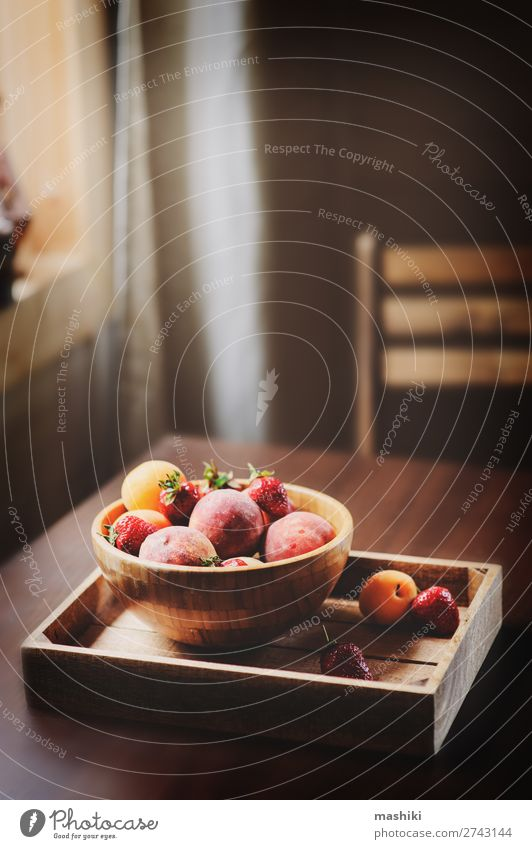 fresh summer fruits on wooden plate. Fruit Plate Summer Table Kitchen Nature Wood Growth Fresh Natural Brown Red Peach Strawberry Berries Apricot Seasons