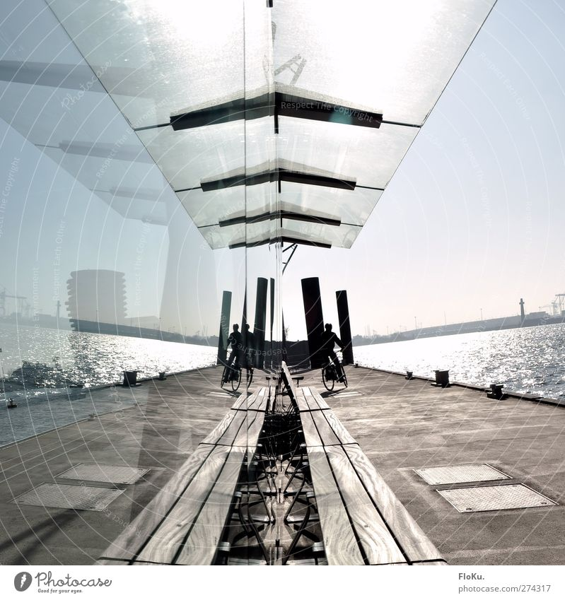 Mirror, playgein... Trip Town Port City Harbour Concrete Wood Glass Glittering Modern Clean Blue Brown Jetty Pane Shelter Ferry terminal Elbe Hamburg