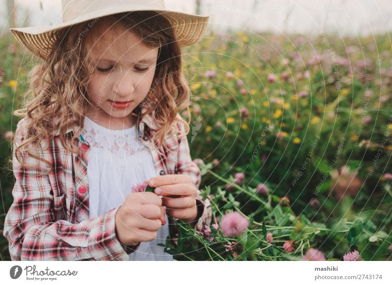 child girl in country style plaid shirt and hat Style Joy Relaxation Vacation & Travel Summer Child Infancy Nature Landscape Meadow Shirt Hat Smiling Happiness