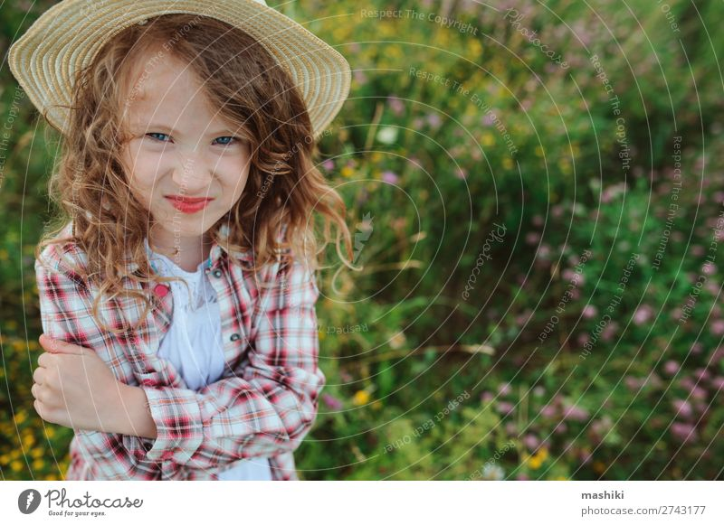 angry child girl in country style plaid shirt Style Joy Relaxation Vacation & Travel Summer Child Infancy Nature Landscape Meadow Shirt Hat Funny Natural Anger