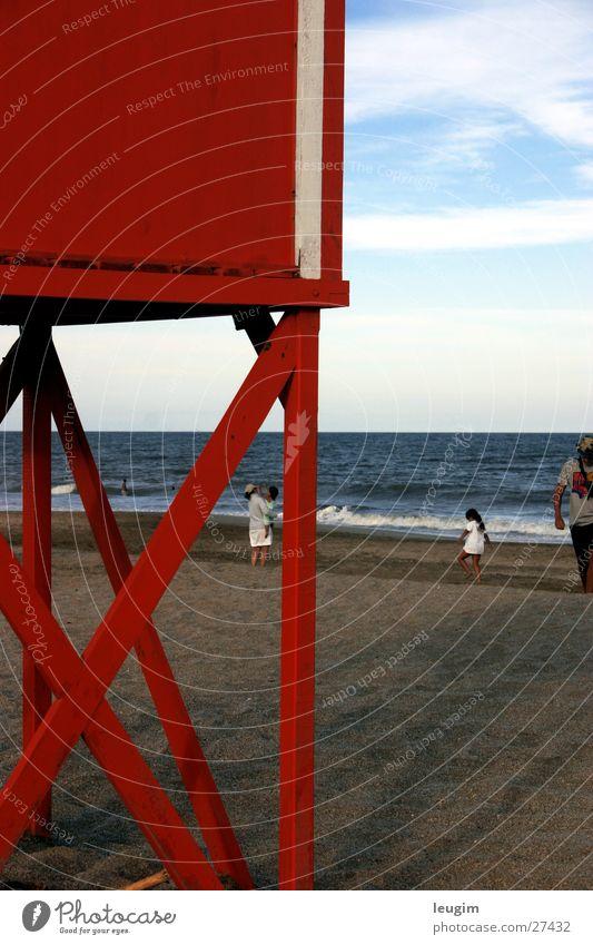 Mar Azul con red Red Beach Ocean Argentina Sand Blue Sky bath attendant