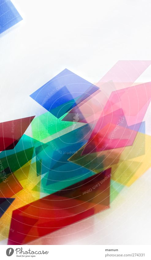 coloured III Paper Piece of paper Plastic packaging Ornament Rectangle Sharp-edged Modern Chaos Design Colour Creativity Colour photo Multicoloured Abstract