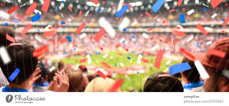 Spectators in the stadium in the confetti rain Joy Happy Leisure and hobbies Party Feasts & Celebrations Sports Sportsperson Sports team Audience Fan Stands