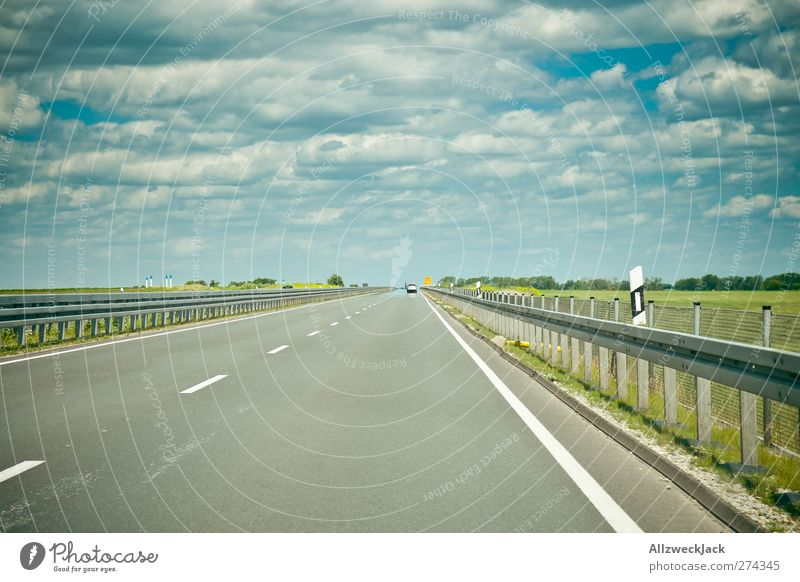 on the road again Sky Clouds Summer Beautiful weather Traffic infrastructure Passenger traffic Motoring Highway Car Driving Far-off places Loneliness Speed