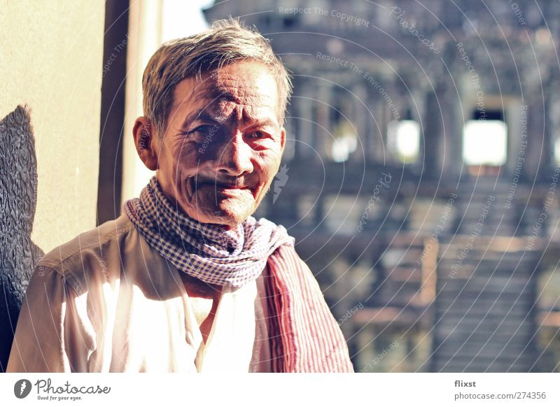 Smile of Wisdom Human being Masculine Male senior Man Senior citizen 1 60 years and older Contentment Optimism Angkor Wat Cambodia Temple Colour photo