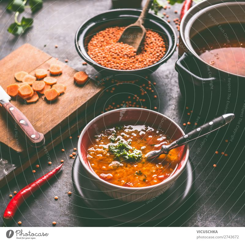 Vegan lentil soup in bowl with spoon Food Grain Soup Stew Nutrition Lunch Banquet Organic produce Vegetarian diet Diet Plate Bowl Spoon Healthy Healthy Eating