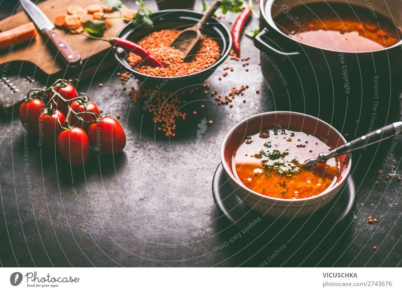 Healthy vegan lentil soup in the bowl Food Grain Soup Stew Nutrition Lunch Organic produce Diet Crockery Plate Bowl Pot Spoon Style Design Healthy Eating Table