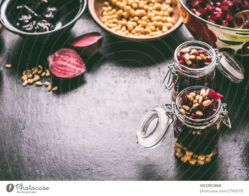 Lunch in glass with beetroot chickpeas salad Food Vegetable Lettuce Salad Nutrition Organic produce Vegetarian diet Diet Crockery Glass Style Design Healthy