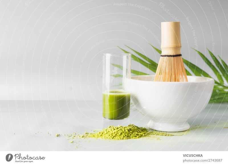 Healthy green Matcha Espresso in the glass Food Nutrition Organic produce Vegetarian diet Diet Beverage Cold drink Hot drink Tea Crockery Bowl Glass Lifestyle