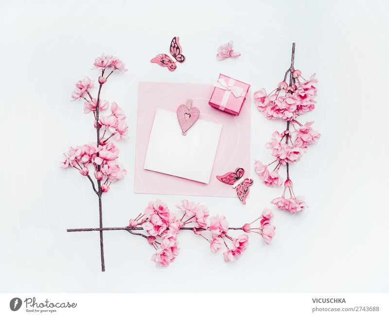 Empty greeting card with pastel pink spring blossom Style Design Feasts & Celebrations Flower Paper Decoration Bouquet Bow Love Pink White bare mock up frame