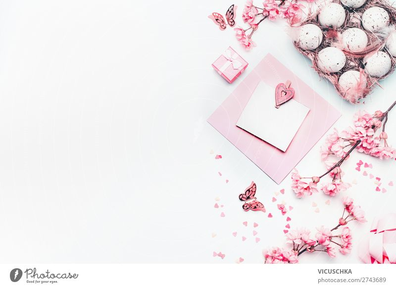 Easter decoration on white Style Design Decoration Feasts & Celebrations Spring Flower Blossom Hip & trendy Pink White Tradition Background picture