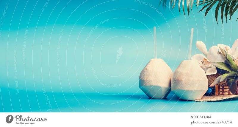Background with coconut cocktail Beverage Drinking water Juice Longdrink Cocktail Style Design Vacation & Travel Tourism Summer Summer vacation Sunbathing Beach