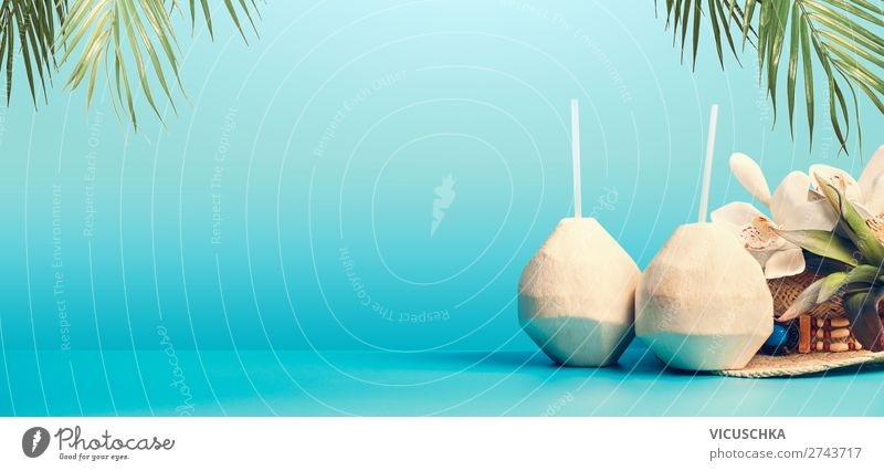 Summer background with tropical coconut cocktail Food Beverage Cold drink Drinking water Longdrink Cocktail Style Design Exotic Vacation & Travel