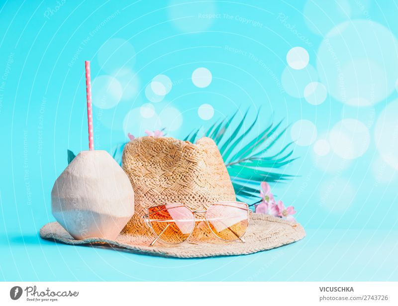 Coconut drink with sunglasses and straw hat Style Design Vacation & Travel Summer Beach Accessory Sunglasses Hat Hip & trendy Background picture Summer vacation