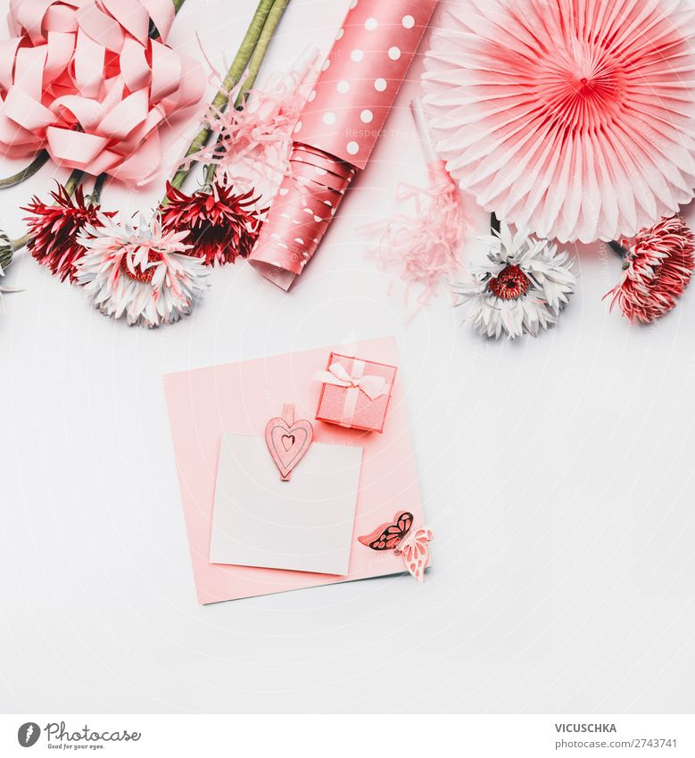 Empty greeting card with flowers and gift Style Design Party Event Feasts & Celebrations Valentine's Day Mother's Day Wedding Birthday Feminine Paper