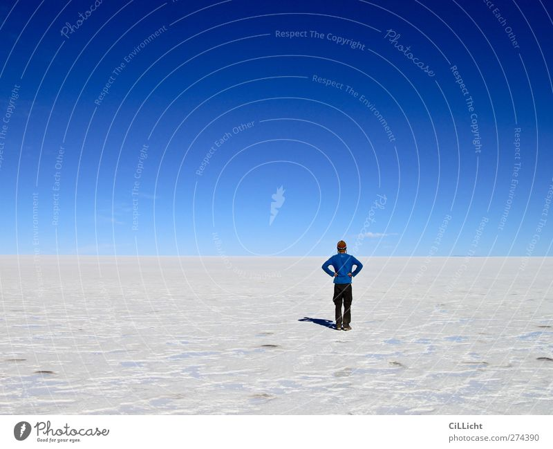 Human being Sky Nature Youth (Young adults) Blue White Loneliness Landscape 18 - 30 years Far-off places Young man Adults Life Exceptional Masculine Earth
