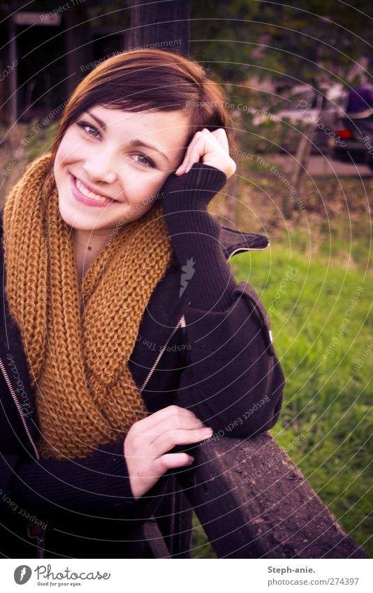 Hello my dear. Feminine Young woman Youth (Young adults) Woman Adults Meadow Scarf Brunette Bangs Observe Communicate Smiling Laughter Illuminate Wait Happiness