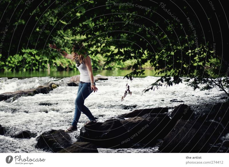 At the river Human being Feminine Young woman Youth (Young adults) 1 Nature Water Summer Tree River bank Stone Jump Green Black White Joie de vivre (Vitality)