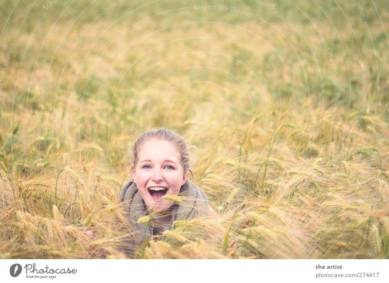 Human being Nature Youth (Young adults) Girl Joy Yellow Feminine Freedom Happy Head Young woman Bright Contentment Blonde Field