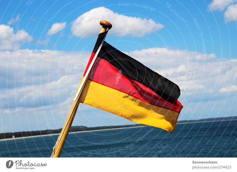 black, red, gold Sky Clouds Beautiful weather Coast Baltic Sea Ocean Lake Navigation Watercraft Sign Federal eagle Stripe Flag Famousness Free Infinity