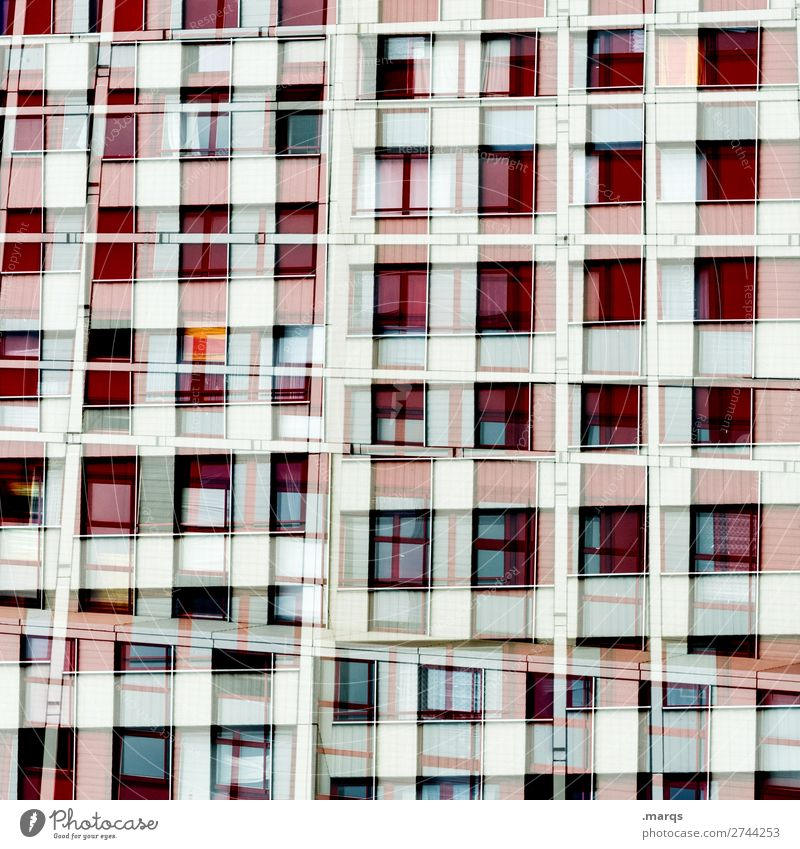 living machine Lifestyle Elegant Style Design High-rise Facade Window Line Living or residing Exceptional Hip & trendy Uniqueness Many Red Black White