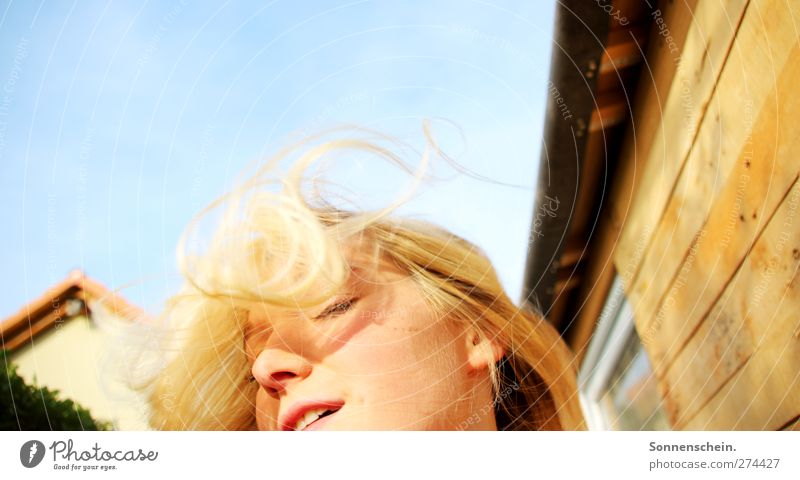 There is still the moment... Happy Hair and hairstyles Summer Sun Feminine Young woman Youth (Young adults) Life Wall (barrier) Wall (building) Blonde