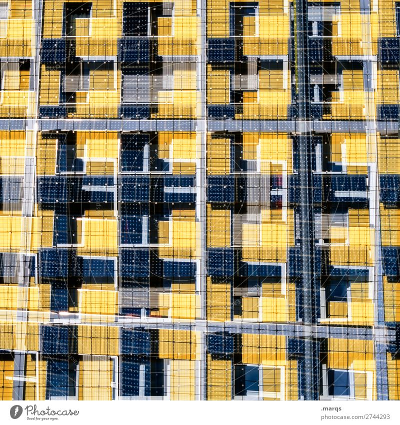 solar Style Design Facade Solar cell Energy industry Line Exceptional Uniqueness Modern Blue Yellow White Sustainability Arrangement Future Double exposure