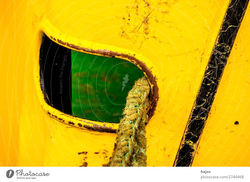 porthole with mooring lines Design Navigation Fishing boat Maritime Yellow Porthole mooring rope ship Close-up variegated Rope lashed Old fishing cutter Re