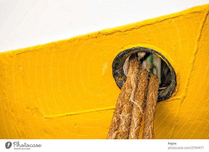 porthole with mooring lines Design Navigation Fishing boat Maritime Yellow White Porthole colourful cheerful Old fishing cutter Harbour lashed hemp ropes