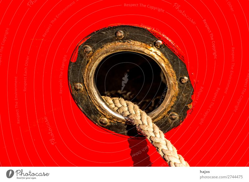 porthole with mooring lines Design Navigation Fishing boat Maritime Red Porthole mooring rope ship's side fishing cutter Dew hemp rope tucked anchored colourful