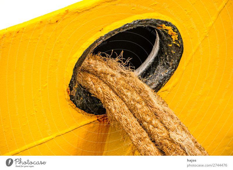 porthole with mooring lines Design Navigation Fishing boat Maritime Yellow White Porthole ropes ship fishing cutter colourful anchored lashed Harbour travel