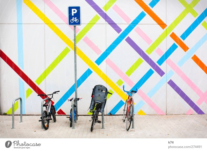 Fancy parking II Wall (barrier) Wall (building) Transport Means of transport Cycling Bicycle Sign Characters Signs and labeling Signage Warning sign Road sign