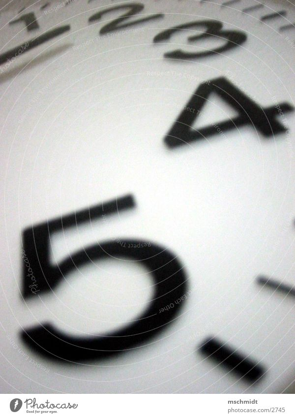 White Black Time Clock Digits and numbers Part Clock hand
