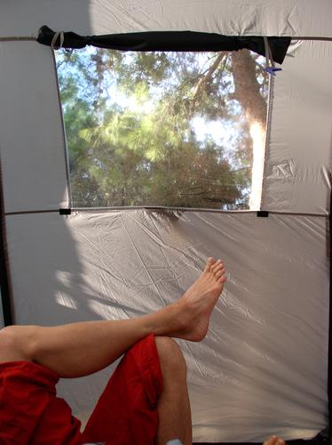 relaxxx Tent Camping Light Relaxation Toes Pants Red Gray Window Vacation & Travel Leisure and hobbies Dream Man Shadow Feet Legs Nature Barefoot