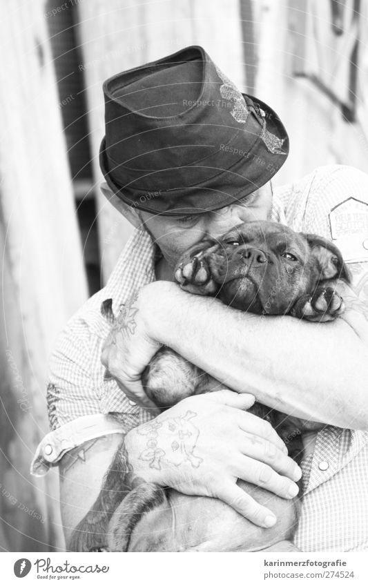 dog love Masculine Man Adults Nose Hand 1 Human being Shirt Hat Animal Dog Love of animals Safety (feeling of) Cuddling Sincere Caresses Black & white photo