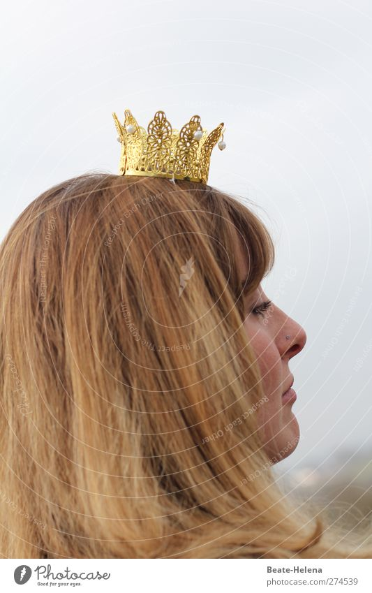 The girl with the pearl crown Young woman Youth (Young adults) 18 - 30 years Adults Brunette Long-haired Crown Pearl Success Gold Emotions Cool (slang) Might