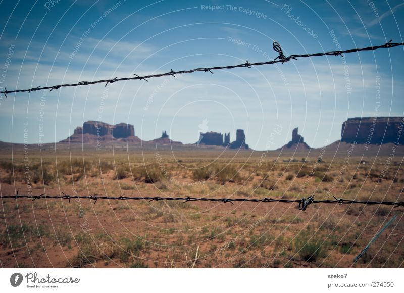 reserve Cloudless sky Beautiful weather Bushes Rock Desert Far-off places Thorny Blue Brown Loneliness Horizon Bans Monument Valley Barbed wire fence