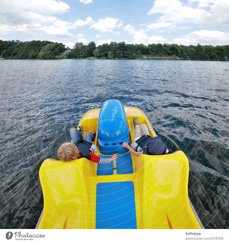 Human being Child Nature Water Summer Girl Environment Landscape Yellow Movement Boy (child) Coast Lake Friendship Watercraft Waves