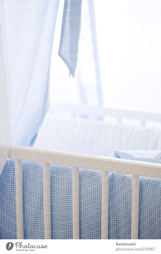 E. M.P. Children's room Bright Blue Baby Crib Birth Offspring Cot Colour photo Interior shot Light Back-light Shallow depth of field