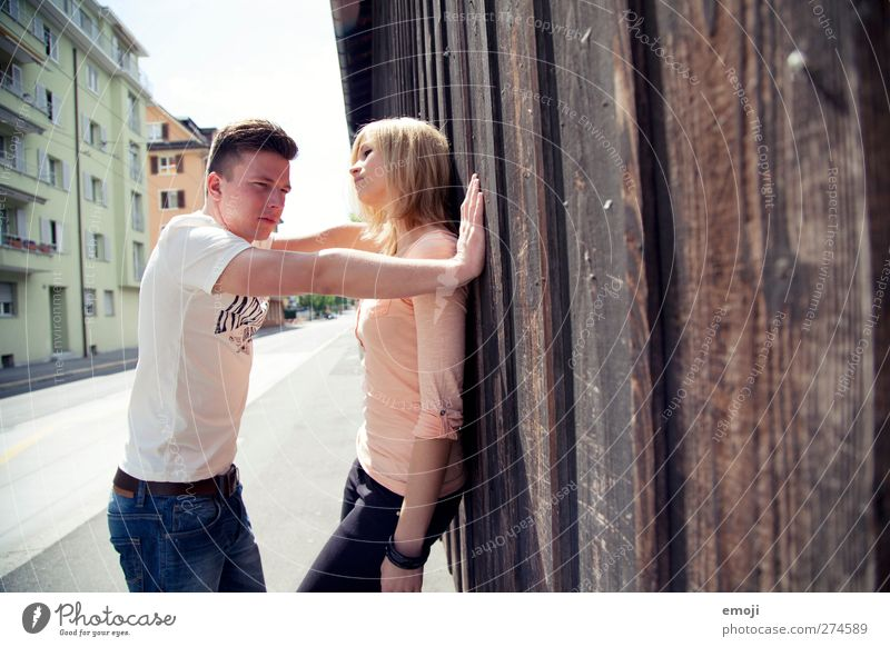 to the wall Masculine Feminine Young woman Youth (Young adults) Young man Friendship Couple 2 Human being 18 - 30 years Adults Beautiful Uniqueness Eroticism