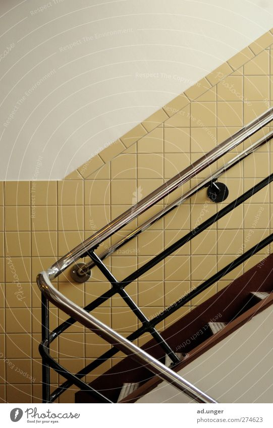 handrails Architecture Stairs Metal Utilize Touch Movement Walking Esthetic Simple Naked Round Safety Contentment Banister Staircase (Hallway) Chrome wall tiles