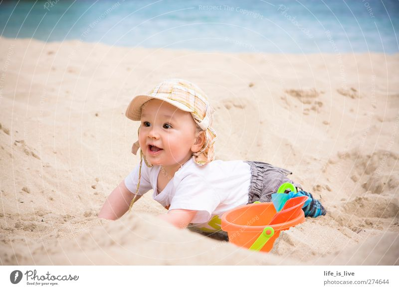 Human being Child Vacation & Travel Summer Ocean Beach Playing Coast Happy Sand Baby Infancy Happiness Joie de vivre (Vitality) Mediterranean sea Wanderlust