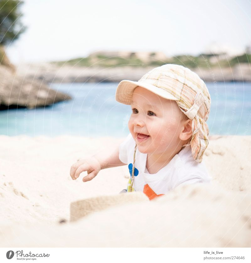 Human being Child Summer Ocean Beach Playing Boy (child) Happy Sand Baby Infancy Happiness Illuminate Cute Smiling Summer vacation