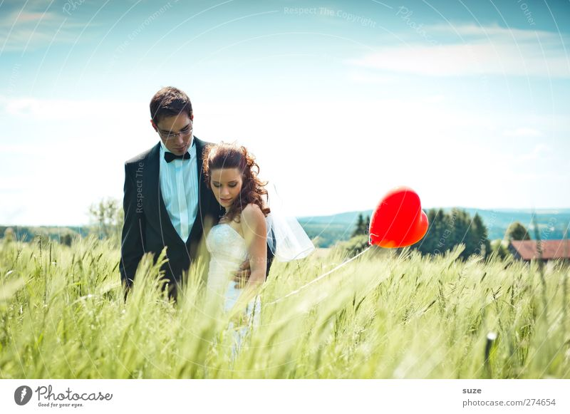 Human being Woman Sky Man Nature Youth (Young adults) Summer Red Adults Landscape Love Feminine Happy Dream Together Field