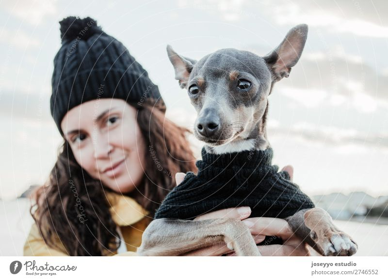 Woman with her little dog Nature Dog Relaxation Animal Winter Lifestyle Adults Yellow Love Freedom Friendship Trip Pet Hat Jacket Coat